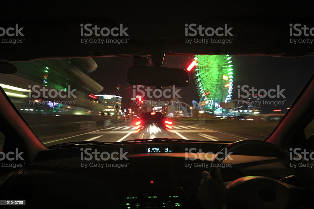 Speed drive from car view. stock photo