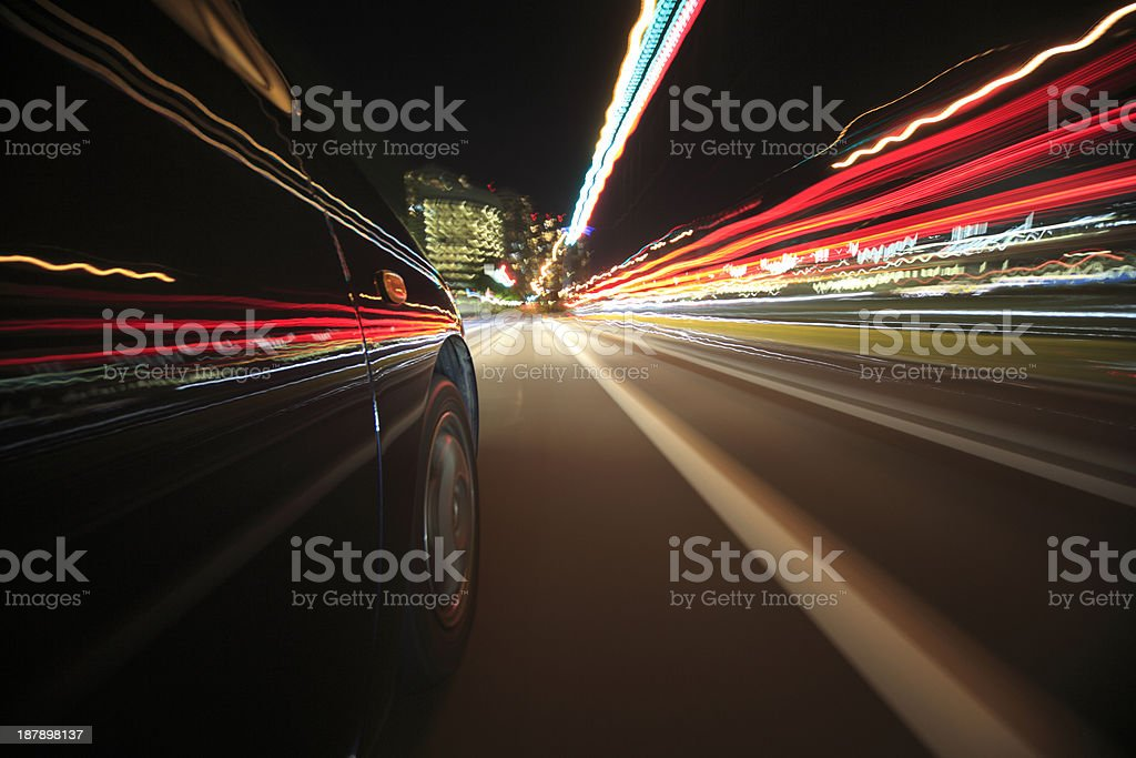 Speed drive on car at night motion blurred royalty-free stock photo
