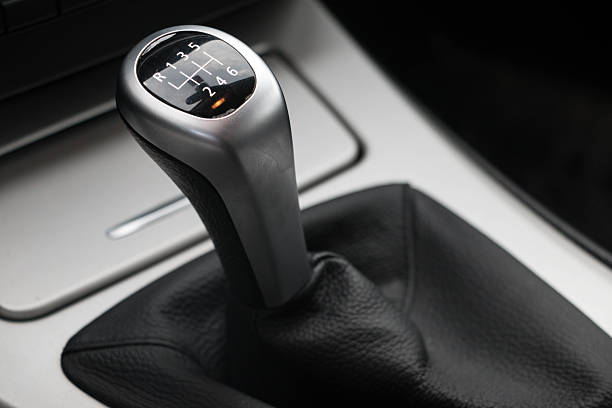 6 speed gearstick of a car stock photo