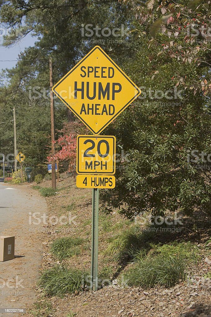 Speed hump ahead 20MPH stock photo