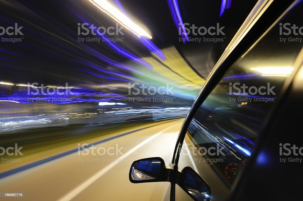 Speed in night royalty-free stock photo