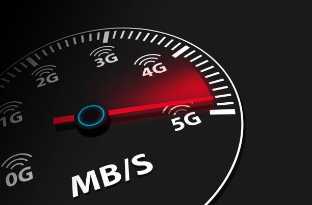 Speed instrument, 5G 5th generation mobile network wireless speed stock photo