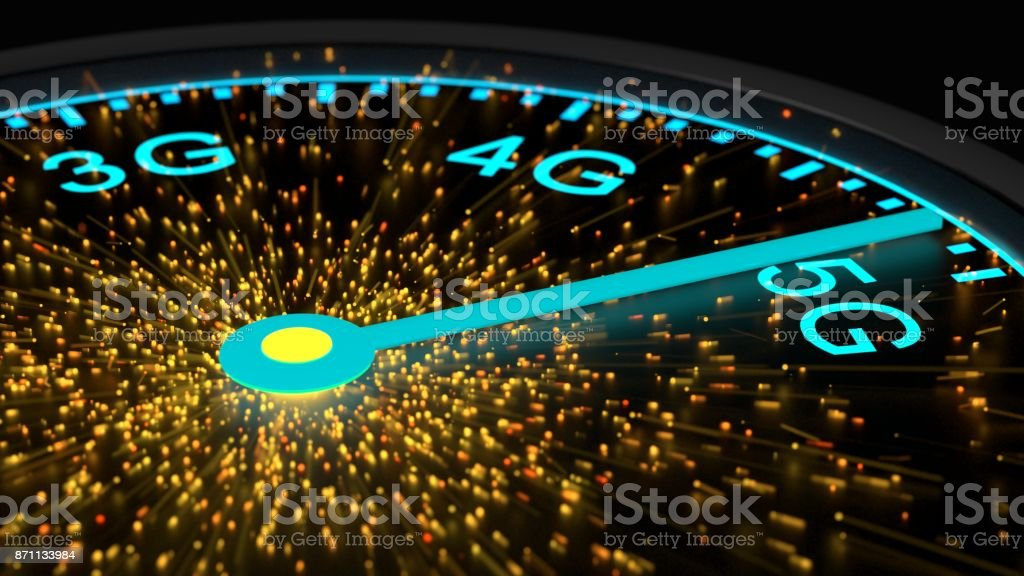 Speed instrument in blue reaching maximum 5G communication speed stock photo