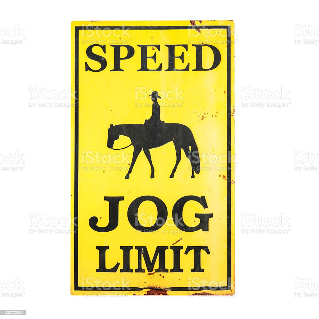 Speed JOG limit sign with clipping path stock photo