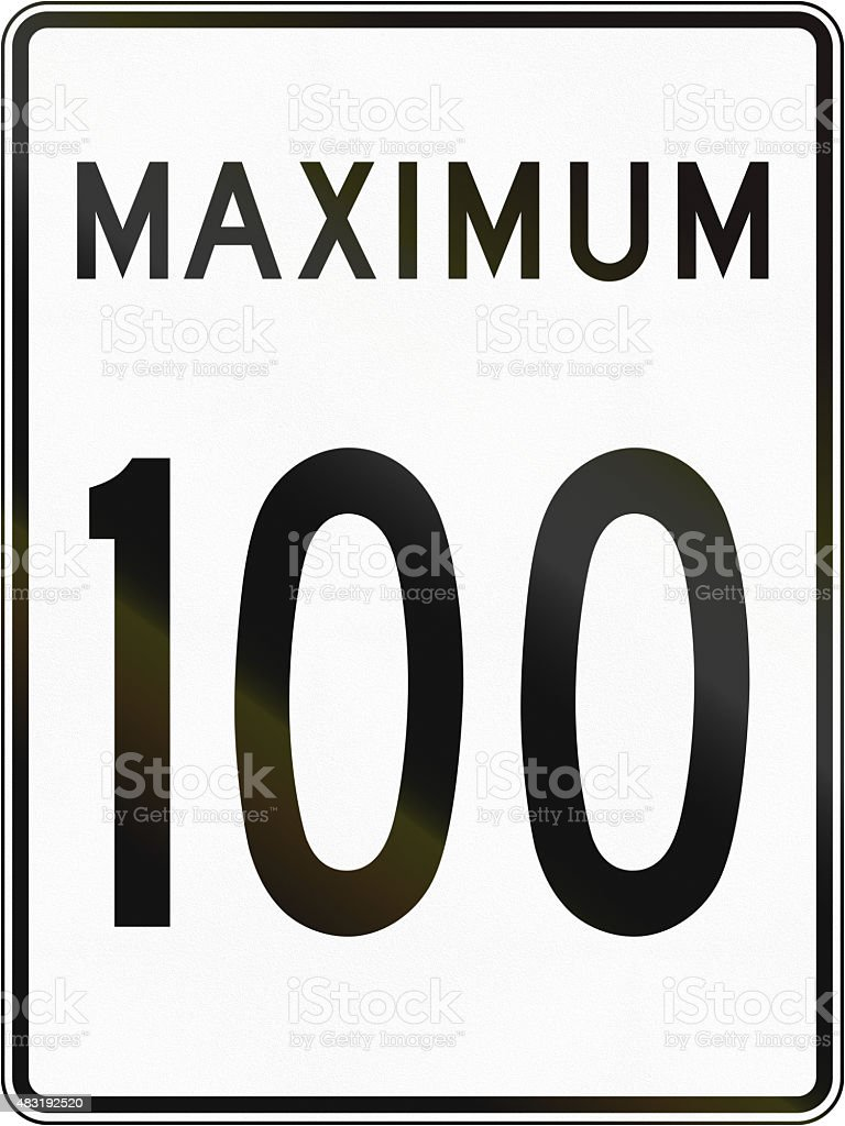 Speed Limit 100 in Canada stock photo