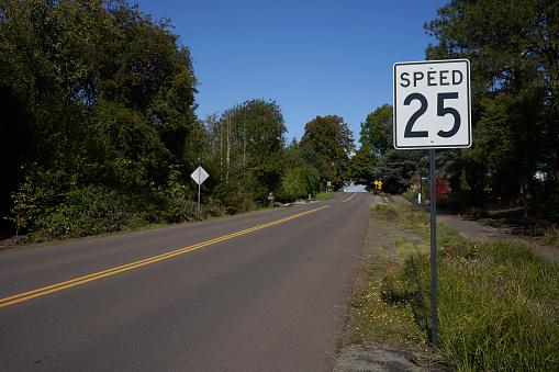25 mph speed limit sign on a suburban neighborhood street.