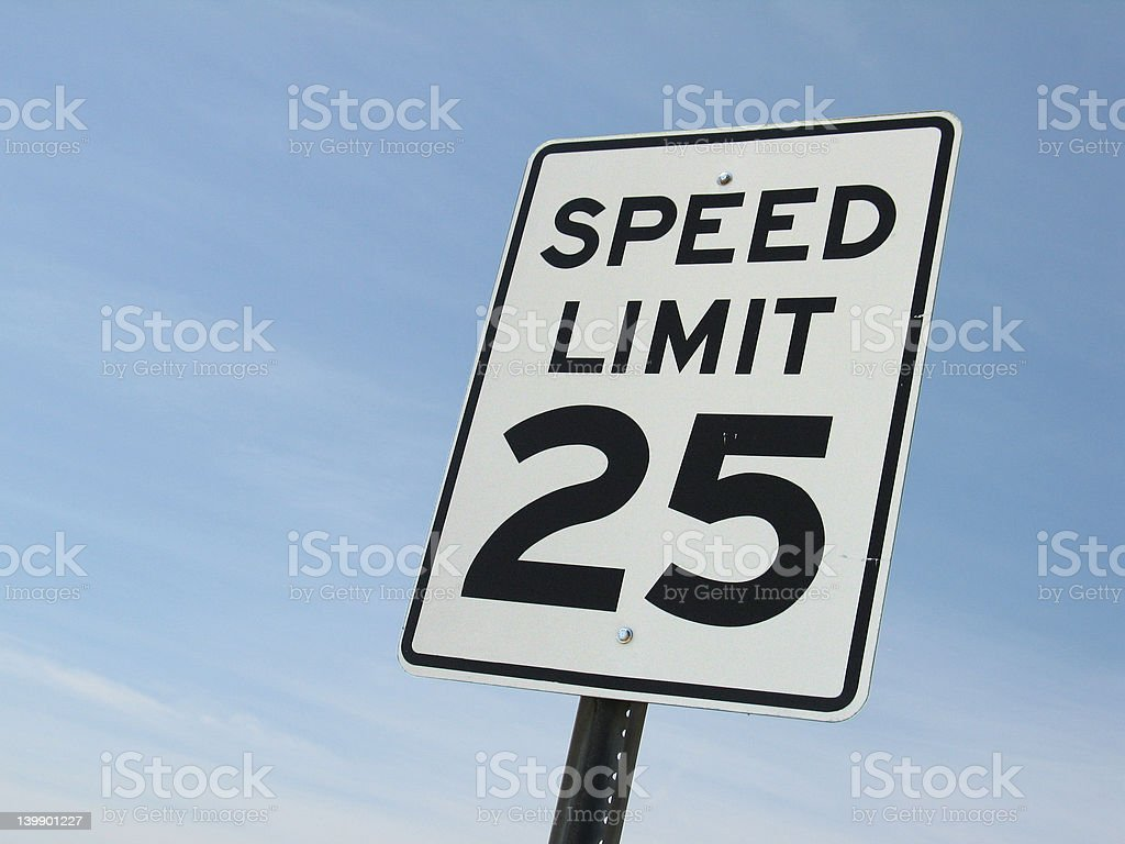 Speed limit 25 stock photo
