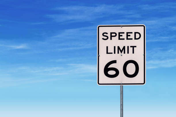 Speed Limit 60 Road Sign stock photo