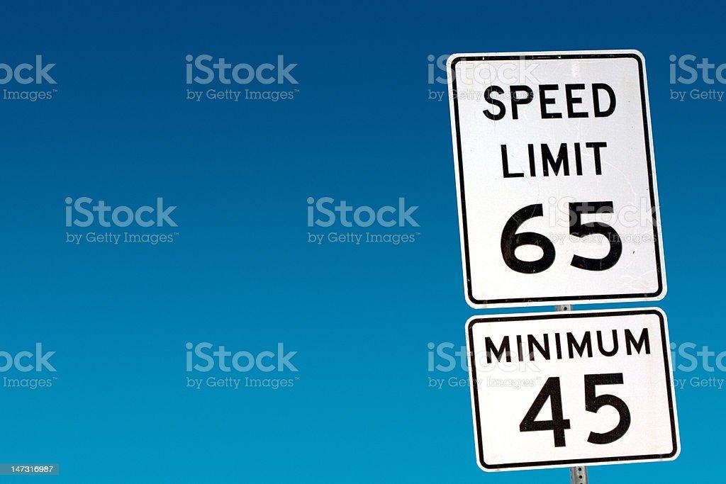 Speed Limit 65 - Minimum 45 stock photo
