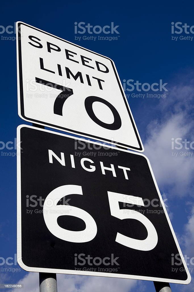 speed limit 70 sign and night 65 stock photo