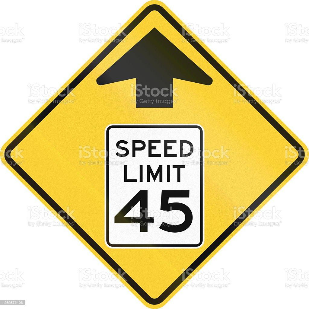 Speed Limit Ahead stock photo