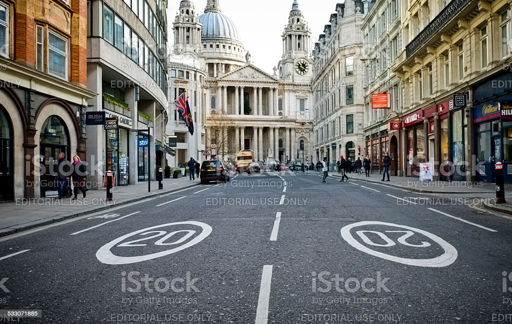 Speed limit in Ludgate Hill, London stock photo