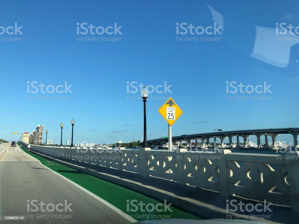 Speed limit sign at Miami stock photo