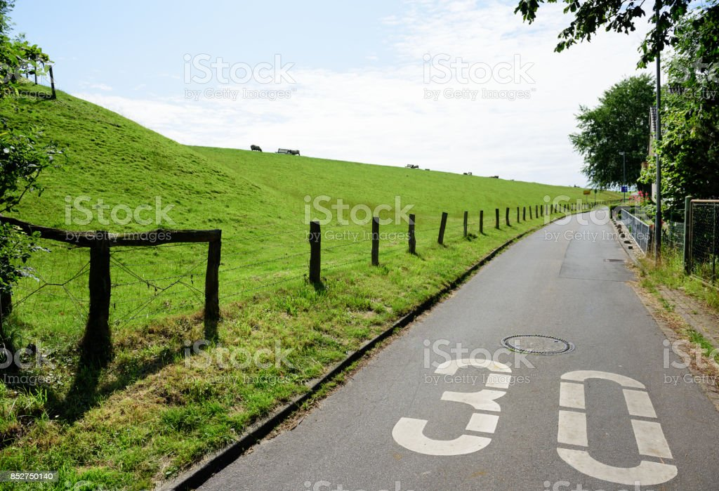 30 speed limit sign, idyllic road stock photo