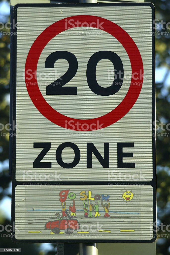 Speed Limit Sign Twenty MPH royalty-free stock photo
