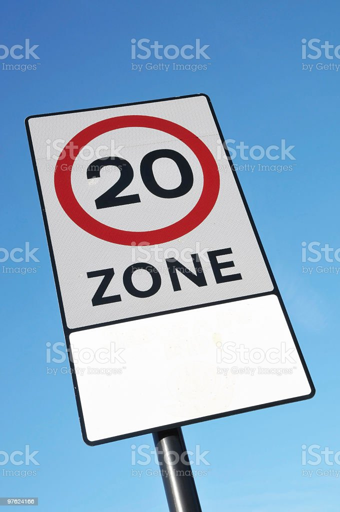 Speed Limit Zone Road Sign royaltyfri bildbanksbilder