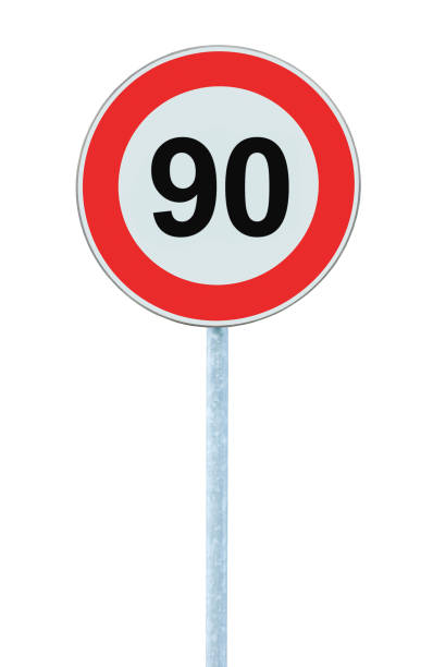 speed limit zone warning road sign, isolated prohibitive 90 km - number 90 stock photos and pictures