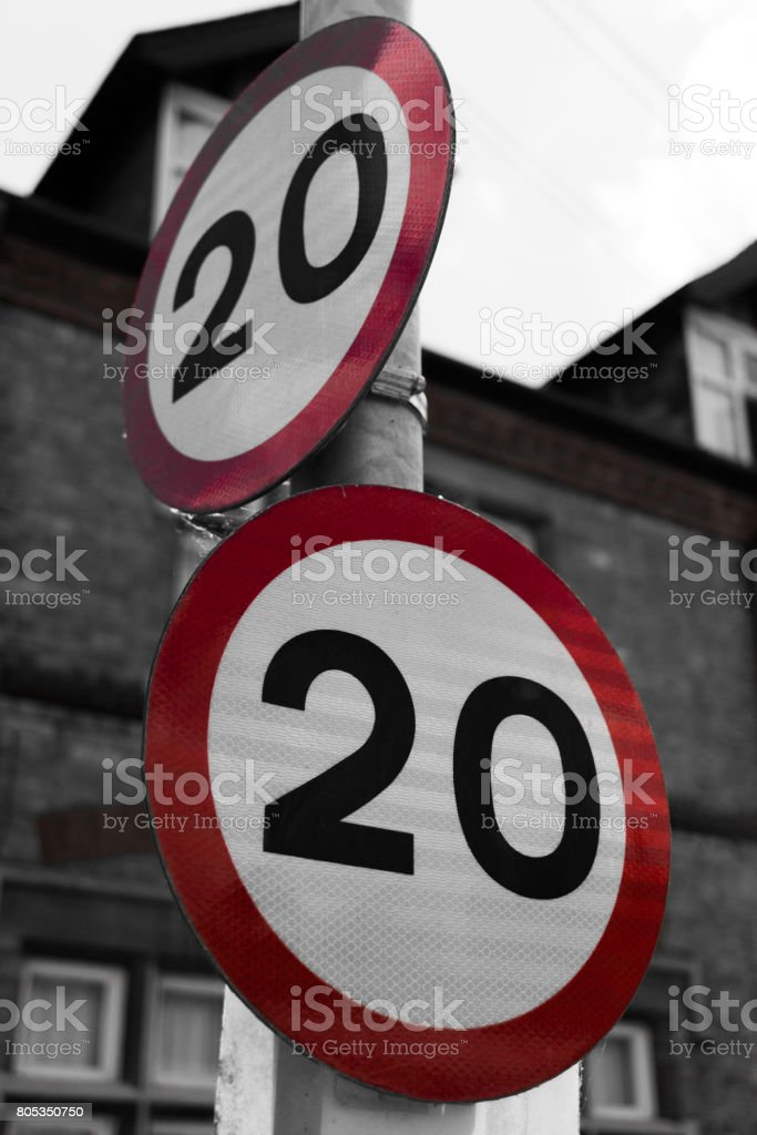 Speed Limt Sign 20mph stock photo