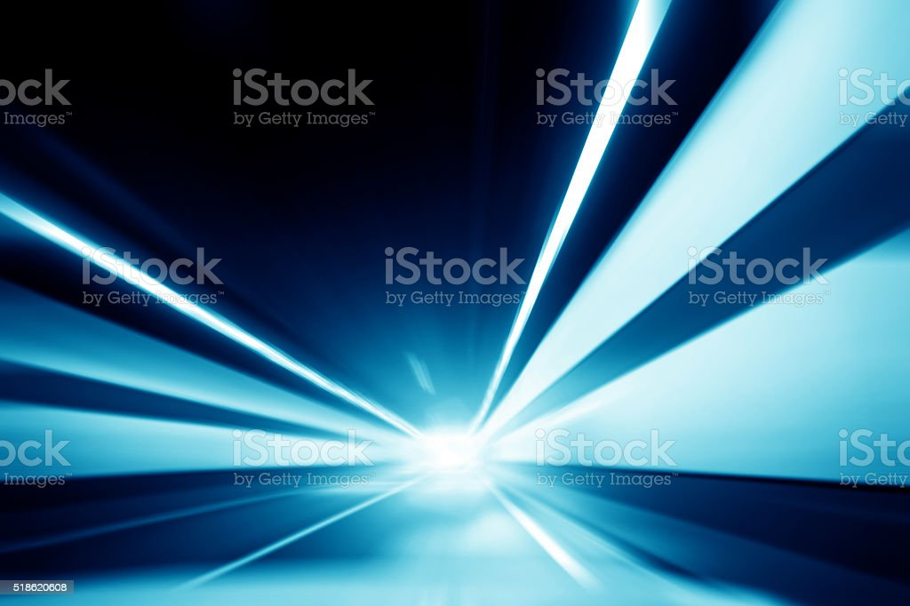 Speed motion in highway tunnel stock photo