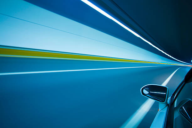 Speed motion in tunnel stock photo