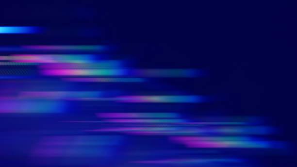 speed motion stripe neon colorful abstract blue blurred prism spectrum lines black background dark bright technology backdrop - błyszczący zdjęcia i obrazy z banku zdjęć