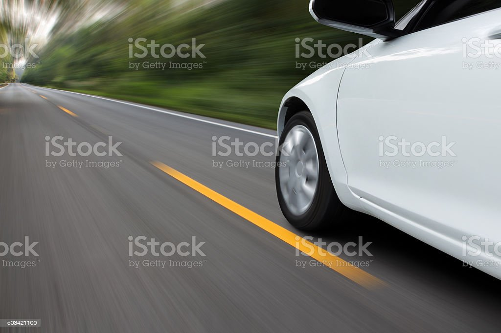 speed movement car on rural asphalt road stock photo