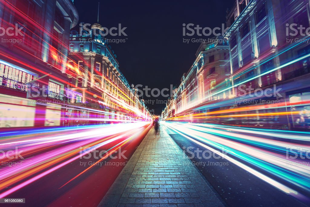Speed of light in London city royalty-free stock photo