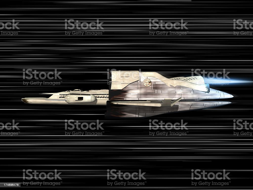 speed of light with space ship royalty-free stock photo