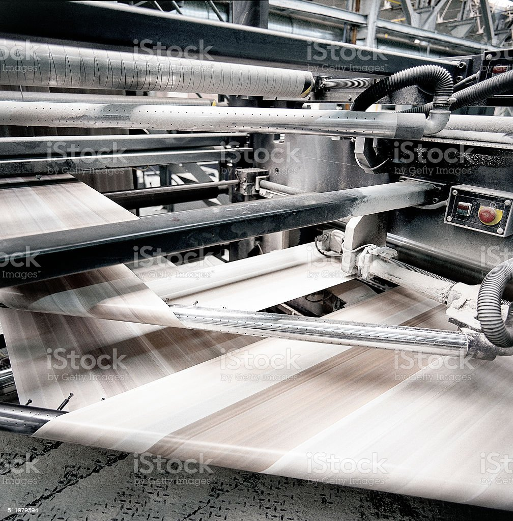 speed of Offset print press at work stock photo