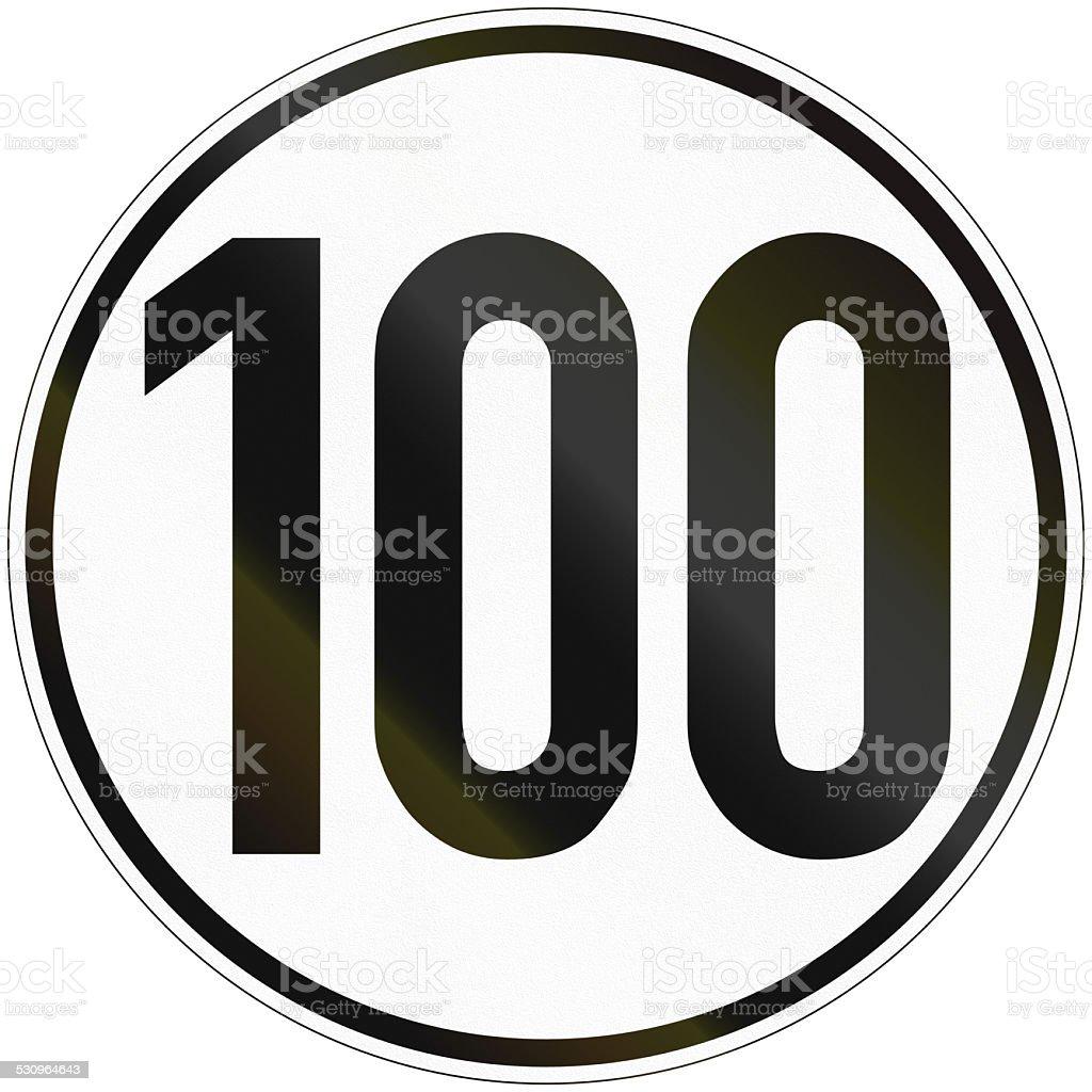 Speed Sign 100 stock photo