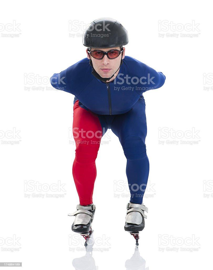 Speed skater in basic position stock photo