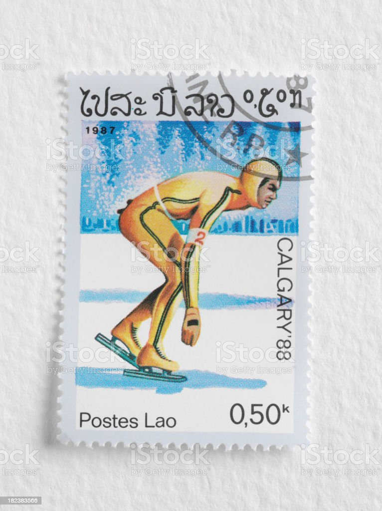 Speed Skater on a Stamp stock photo