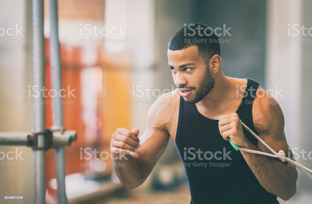 Speed training in an urban gym stock photo