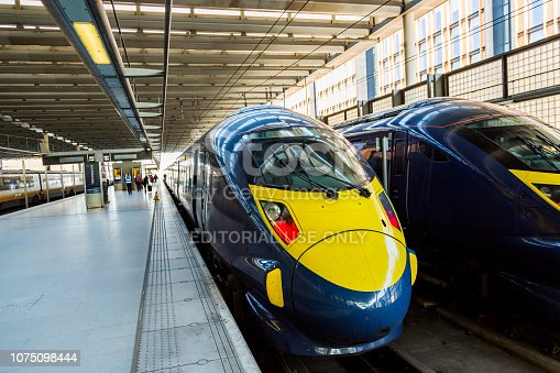 London, England - January 01, 2016: Speed trains standing on a train station in Dover going to London
