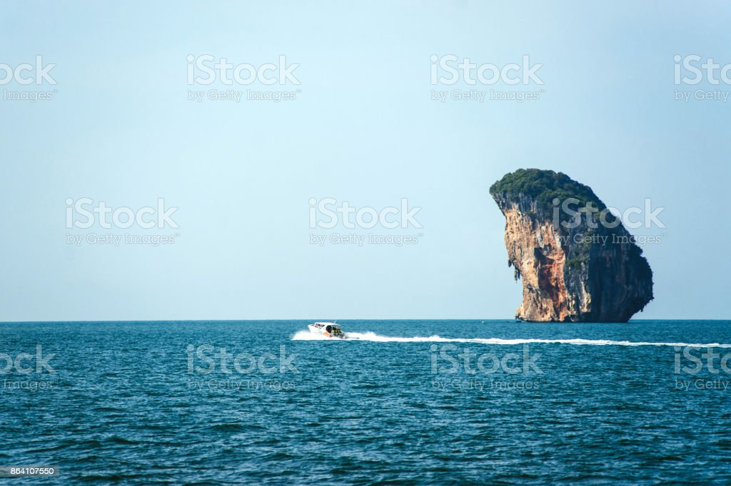Speedboat in the islands royalty-free stock photo