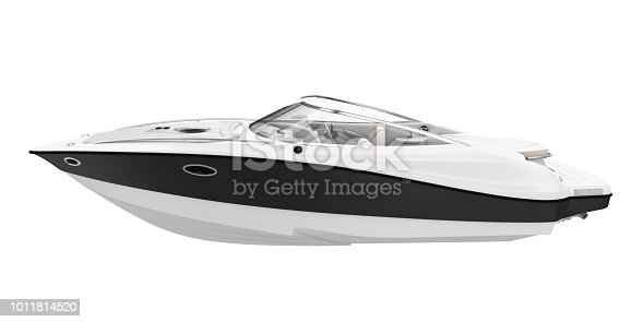 Speedboat isolated on white background. 3D render
