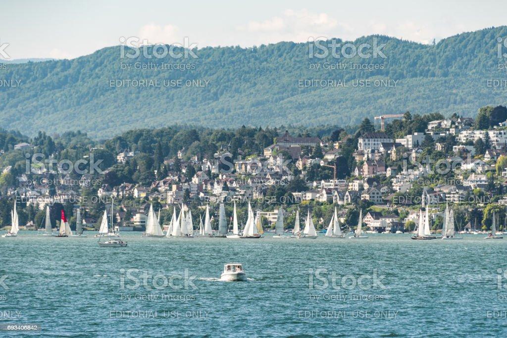 Speedboat on Lake Zurich stock photo