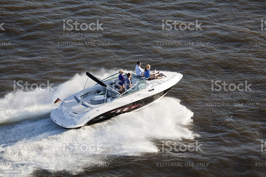 speedboat on the Elbe river in Germany royalty-free stock photo