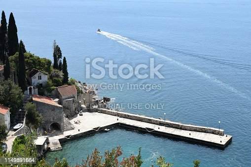 Trsteno, a district of Dubrovnik, Croatia - May 2, 2017: Marina in Trsteno, small town near Dubrovnik - view from Trsteno Arboretum located on the hill above the town