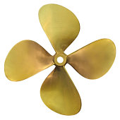 Four-bladed boat propeller, isolated over white background