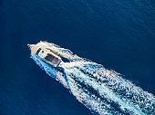 Speedboat racing at the open sea