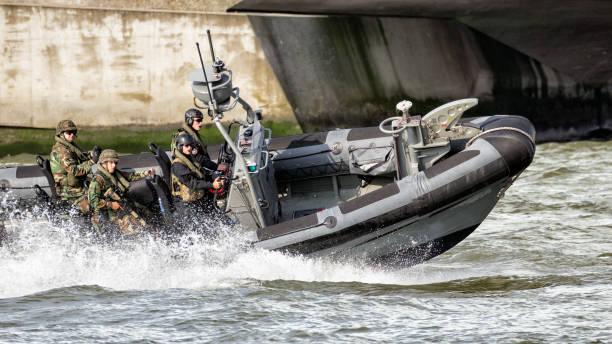 speedboat with Dutch Marines stock photo
