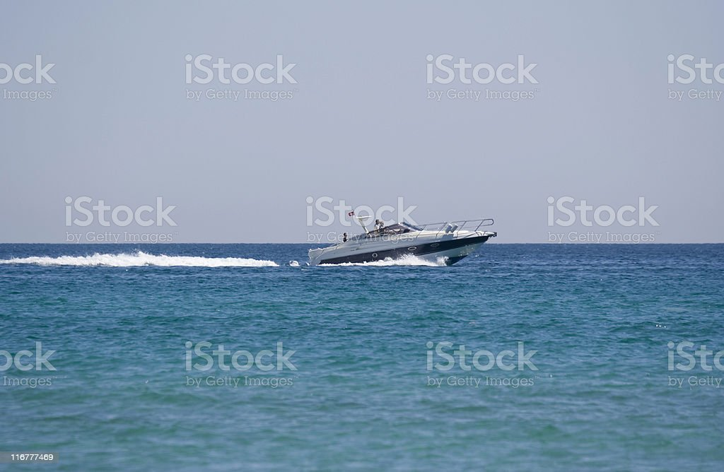 speedboat with family royalty-free stock photo