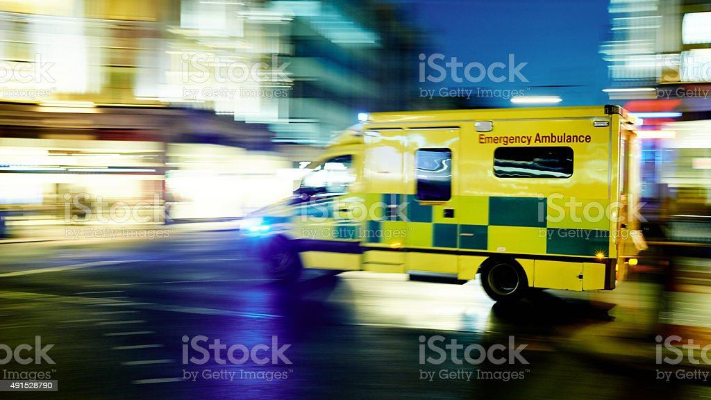 Speeding ambulance stock photo