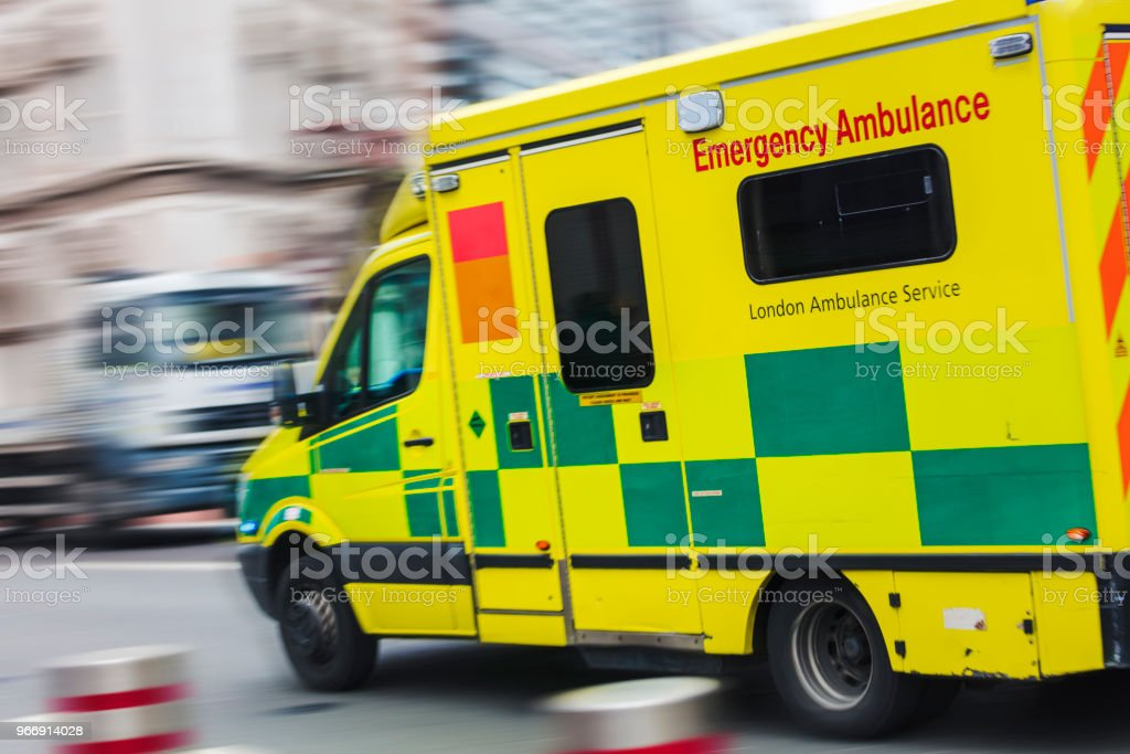Speeding ambulance stock photo