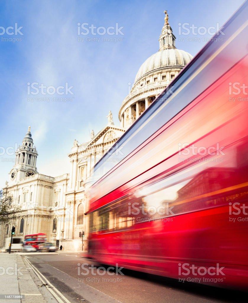 Speeding bus in London royalty-free stock photo