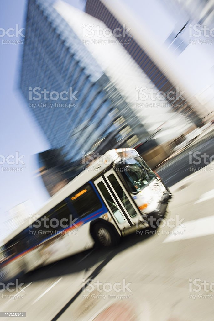 Speeding Bus With Blurred Background royalty-free stock photo