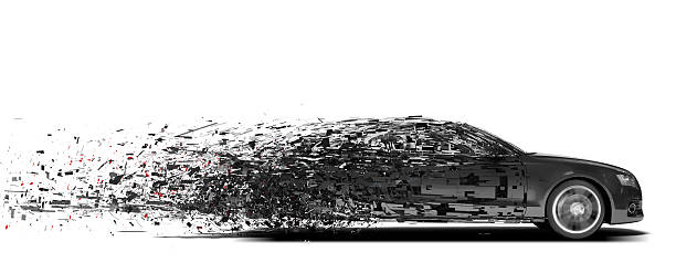 speeding car disintegrating - disintegrate stock pictures, royalty-free photos & images
