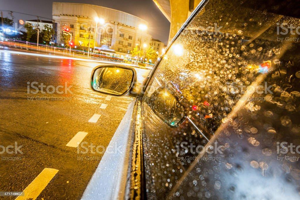 speeding car in night at street royalty-free stock photo