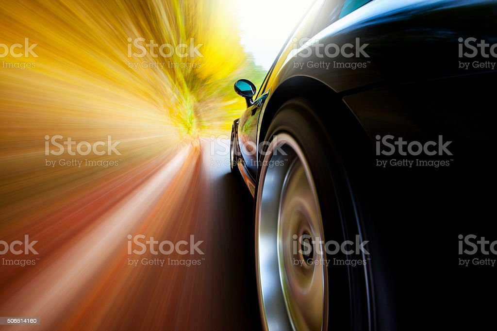 Speeding Driving Apex Sports Car stock photo